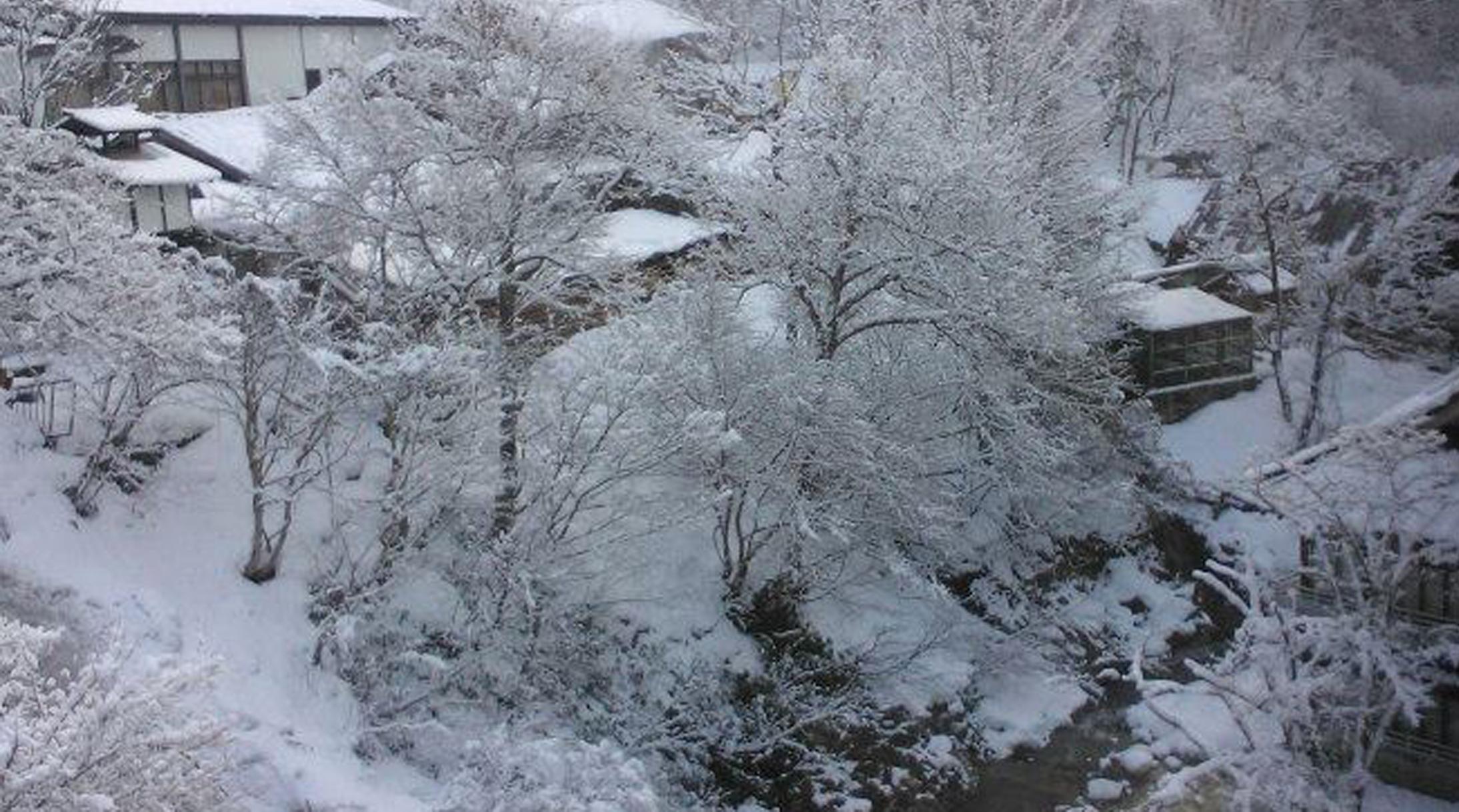 onsen in winter